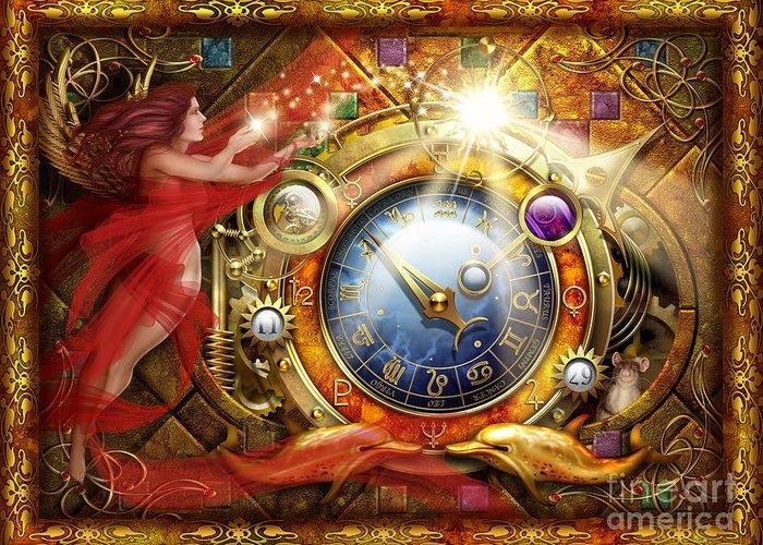 Ciro Marchetti Greeting Card featuring the digital art Cosmic Clock by Ciro Marchetti