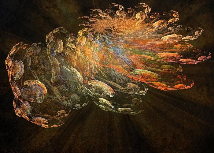 Cosmic Dust Greeting Card featuring the painting Cosmic Dust And Light Beauty Fine Fractal Art by Georgeta Blanaru