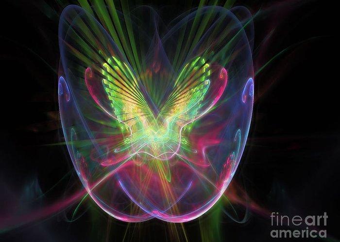 Peter R Nicholls Abstract Fine Artist Canada Greeting Card featuring the digital art Cosmic Flight by Peter R Nicholls