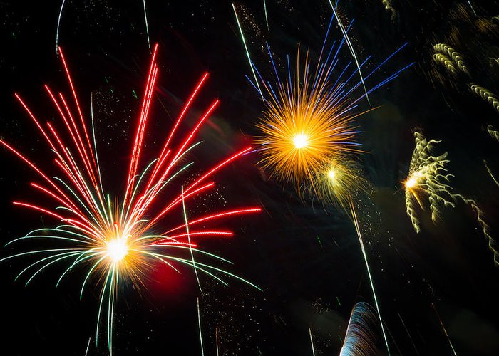 Addison Greeting Card featuring the photograph Cosmos Fireworks by Inge Johnsson