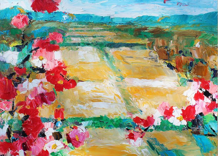 Oil Greeting Card featuring the painting Cosmos In The Field 2 by Becky Kim