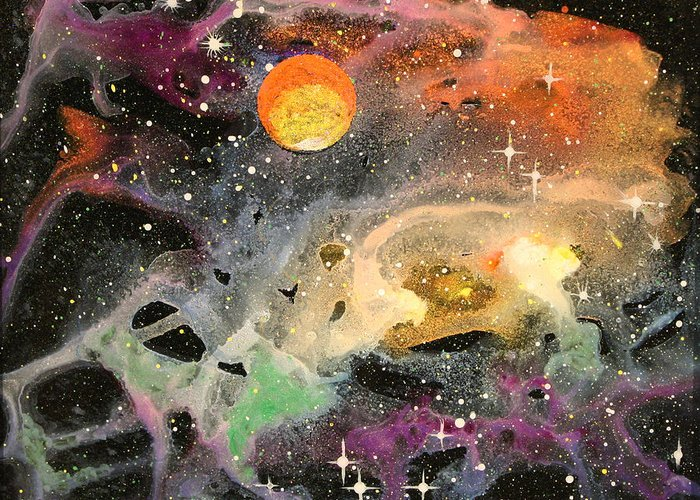 Wolfgang Finger Greeting Card featuring the painting Cosmos by Wolfgang Finger