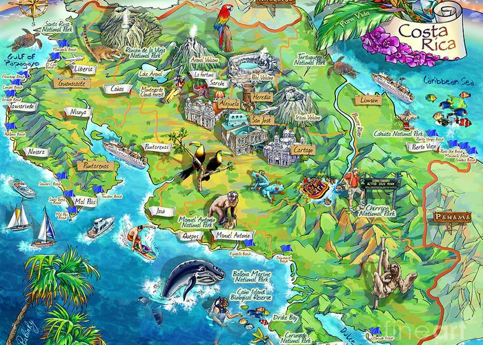 Costa Rica Map Illustration Greeting Card for Sale by Maria Rabinky
