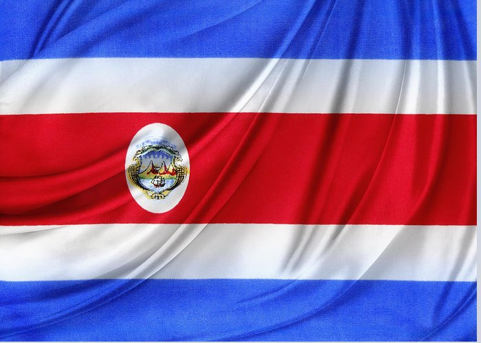 Color Greeting Card featuring the photograph Costa Rican Flag by Les Cunliffe