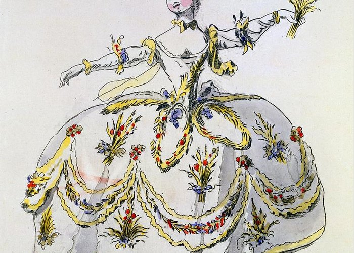 Costume Greeting Card featuring the drawing Costume Design For Ceres, Facsimile by French School