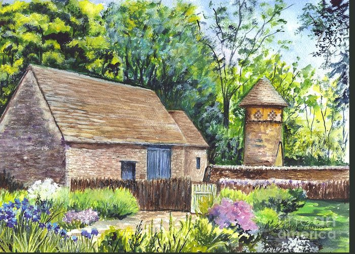 Barn Greeting Card featuring the painting Cotswold Barn by Carol Wisniewski