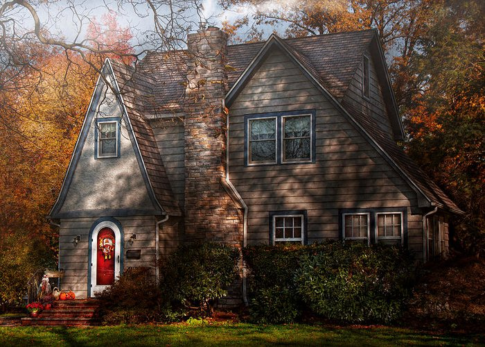 Cottage Greeting Card featuring the photograph Cottage - Cranford Nj - Autumn Cottage by Mike Savad