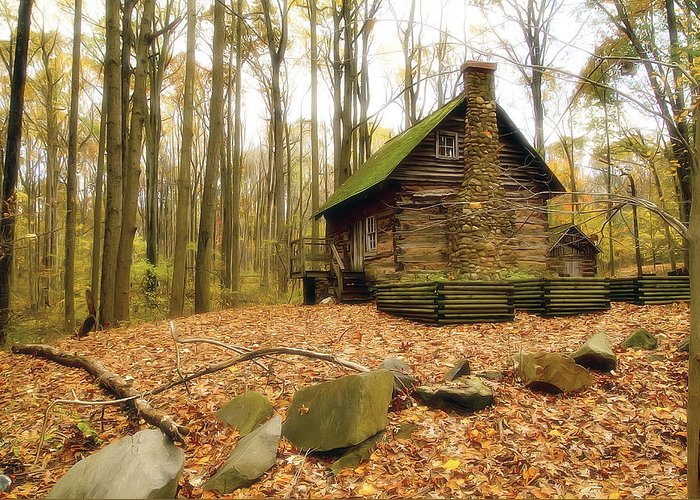 Autumn Greeting Card featuring the photograph Cottage by Edward Kreis
