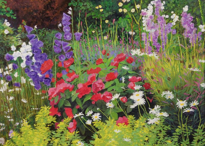 Flowers Greeting Card featuring the painting Cottage Garden by William Ireland