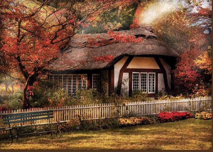 Savad Greeting Card featuring the photograph Cottage - Nana's House by Mike Savad
