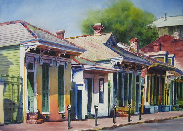 Cottage Greeting Card featuring the painting Cottage Row by Sue Zimmermann