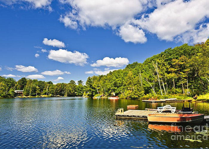 Cottages Greeting Card featuring the photograph Cottages On Lake With Docks by Elena Elisseeva