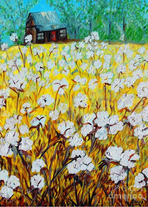 Cotton Greeting Card featuring the painting Cotton Fields Back Home by Eloise Schneider