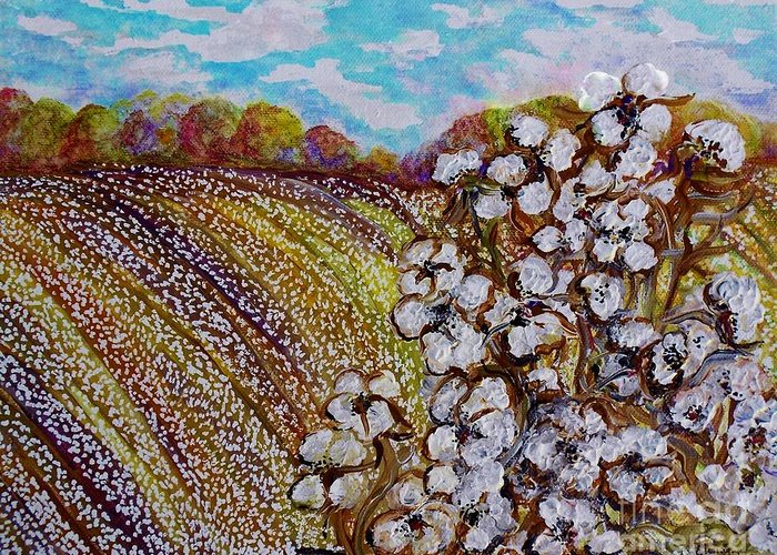 Cotton Greeting Card featuring the painting Cotton Fields In Autumn by Eloise Schneider