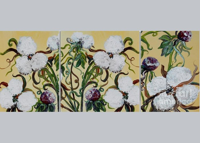 Triptych Greeting Card featuring the painting Cotton Triptych by Eloise Schneider