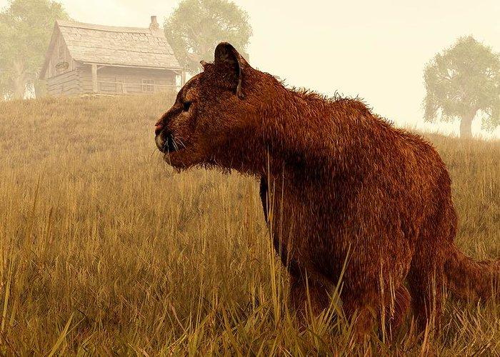 Cougar Greeting Card featuring the digital art Cougar In A Field by Daniel Eskridge