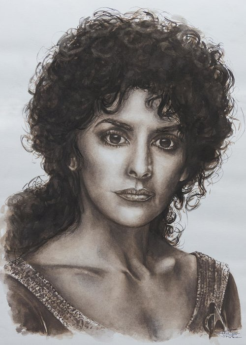 Star Trek Greeting Card featuring the painting counselor Deanna Troi Star Trek TNG by Giulia Riva