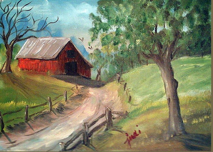Barn Greeting Card featuring the mixed media Country Barn by Judi Pence