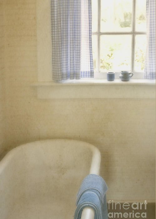 Bathroom; Tub; Bathtub; Towel; Window; Cup; Checkers; Blur; Yellow; Inside; Indoors; Interior; Bath; Empty; No One; Bright; Airy; Vintage; Claw Foot; Tub; Curtains; Drapes; Still Life; House; Home; Country Greeting Card featuring the photograph Country Bath by Margie Hurwich