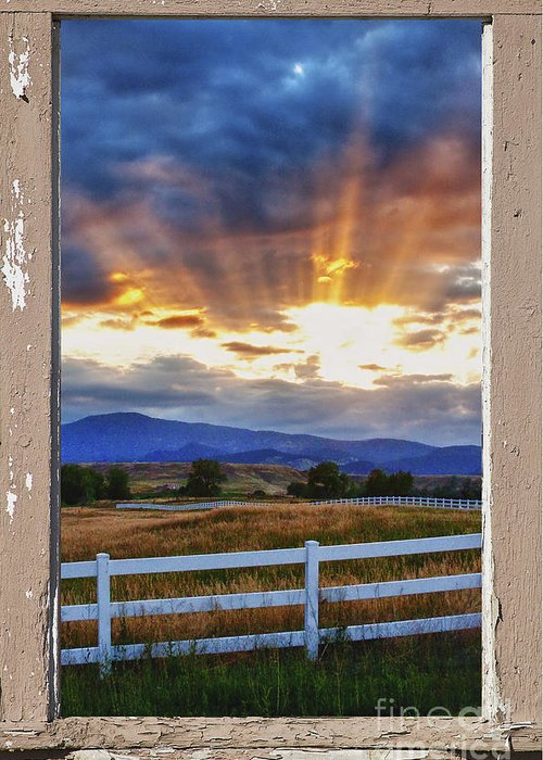 Sunlight Greeting Card featuring the photograph Country Beams Of Light Pealing Picture Window Frame Vie by James BO Insogna
