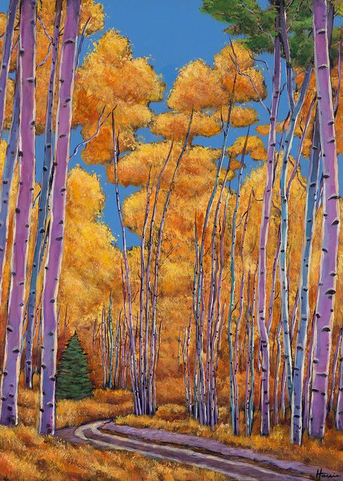 Autumn Aspen Greeting Card featuring the painting Country Corner by Johnathan Harris