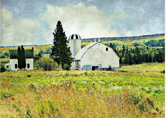 Barn Silo Farm House Country Back Roads Greeting Card featuring the photograph Country Farm by Dianne Lacourciere