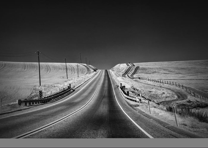 Black And White Greeting Card featuring the photograph Country Farm Road by Anthony Citro