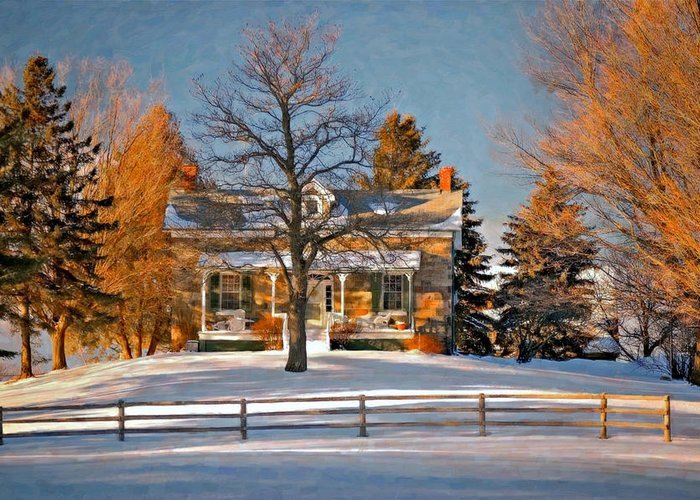 Country Living Greeting Card featuring the photograph Country Home Oil by Steve Harrington