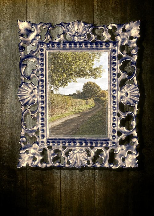 Gothic Greeting Card featuring the photograph Country Lane Reflected In Mirror by Amanda Elwell
