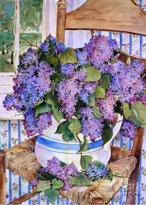 Lilacs Greeting Card featuring the painting Country Lilacs by Sherri Crabtree