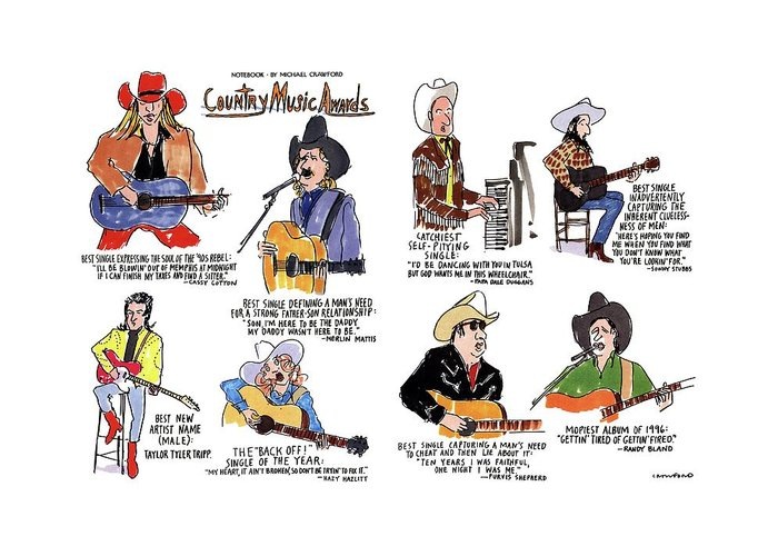 No Caption Title: Country Music Awards. Two-page Color Spread Of The Winners Of The Country Music Awards. Notebook Spoof Shows Greeting Card featuring the drawing Country Music Awards by Michael Crawford