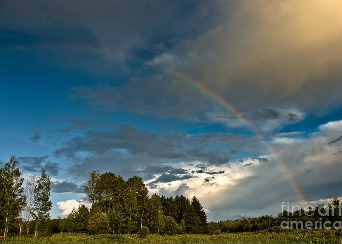 Rainbow Greeting Card featuring the photograph Country Rainbow by Cheryl Baxter