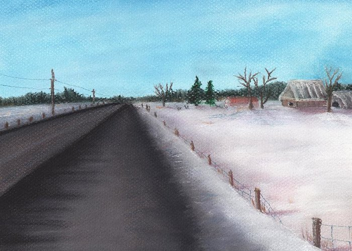 Calm Greeting Card featuring the painting Country Road by Anastasiya Malakhova