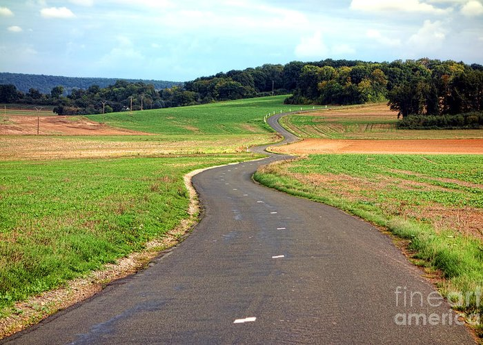 France Greeting Card featuring the photograph Country Road In France by Olivier Le Queinec