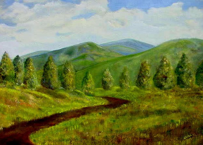 Mountains Greeting Card featuring the painting Country Road by Laura Corebello