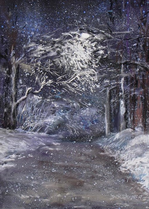 Snow Greeting Card featuring the painting Country Road On A Wintery Night by Jack Skinner