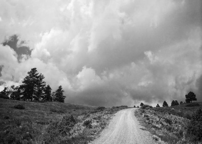 Black And White Greeting Card featuring the photograph Country Road With Stormy Sky In Black And White by Julie Magers Soulen