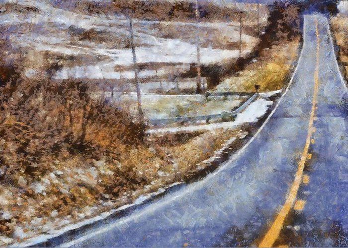 Winter Roads Mixed Media Greeting Cards