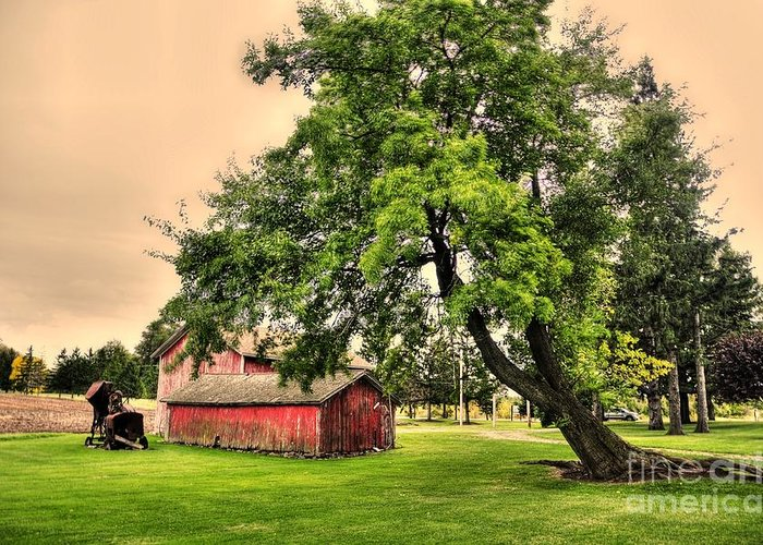 Red Greeting Card featuring the photograph Country Scene by Kathleen Struckle
