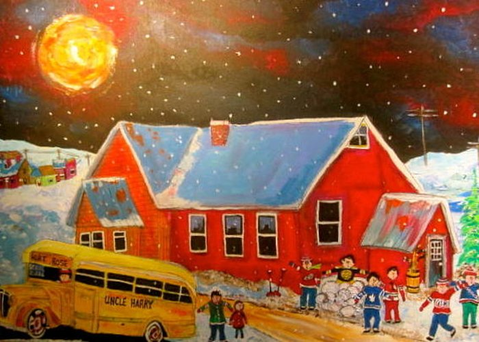 Fort Rose School Greeting Card featuring the painting Country Schoolyard Memories by Michael Litvack