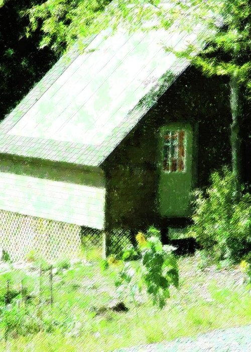 Rural Greeting Card featuring the mixed media Country Shed by Florene Welebny