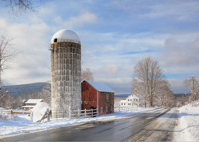 Old Red Barn Greeting Card featuring the photograph Country Snow by Bill Wakeley