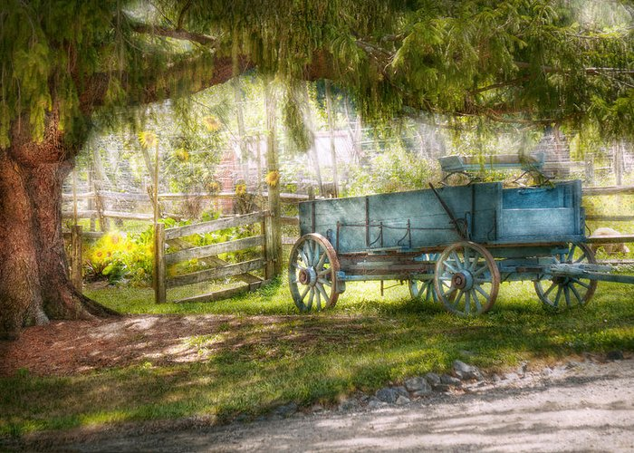 Savad Greeting Card featuring the photograph Country - The Old Wagon Out Back by Mike Savad