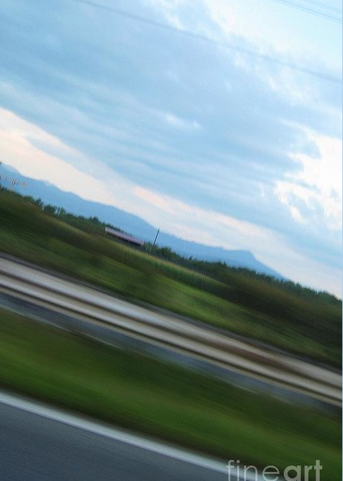 Highway Greeting Card featuring the photograph Countryside Flying By by Brenda Dorman