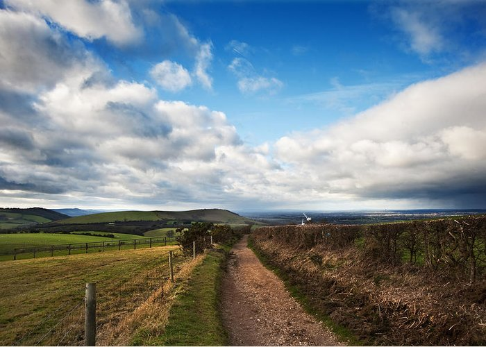 Landscape Greeting Card featuring the photograph Countryside Landscape Path Leading Through Fields Towards Dramat by Matthew Gibson