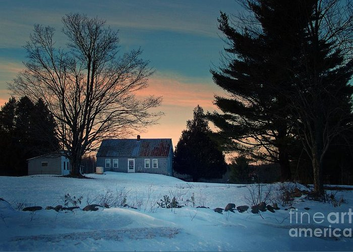 Photography Greeting Card featuring the photograph Countryside Winter Evening by Joy Nichols