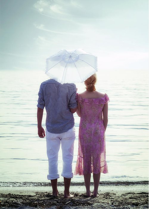 Man Greeting Card featuring the photograph Couple On The Beach by Joana Kruse