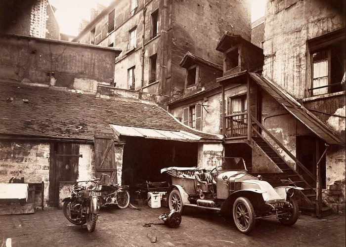 Aget Greeting Card featuring the photograph Cour 7 Rue De Valence Eugene Aget 1922 by Vintage Printery