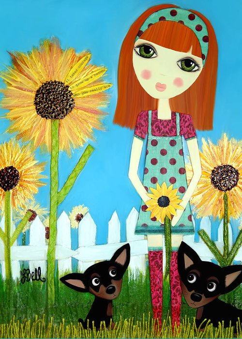 Sunflowers Greeting Card featuring the painting Courage 2 by Laura Bell