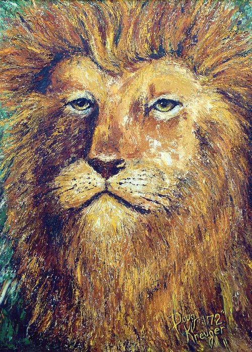 Adult Male Lion Greeting Card featuring the painting Courage by Doug Kreuger